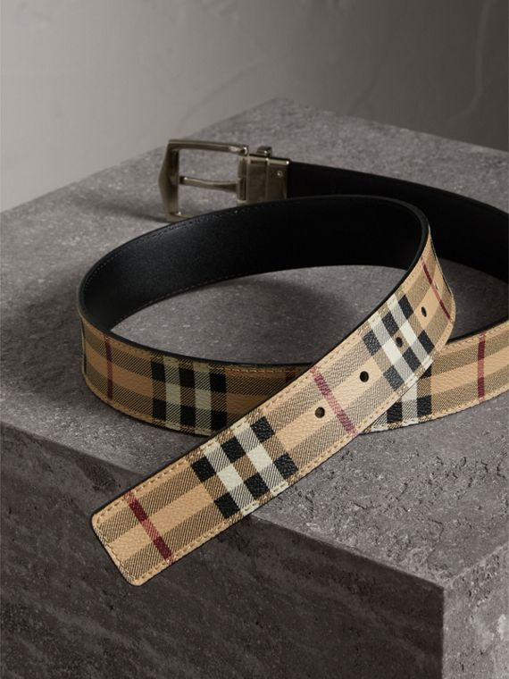 Reversible Haymarket Check and Leather Belt in Black - Men | Burberry - cell image 2