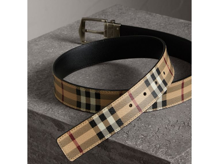 Reversible Haymarket Check and Leather Belt in Black - Men | Burberry Canada - cell image 4