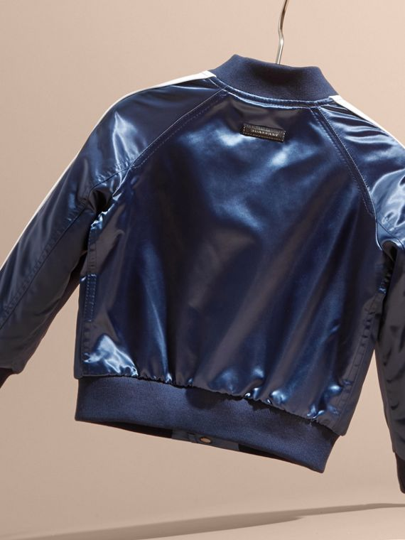 Bright navy Weather Appliqué Satin Bomber Jacket - cell image 3
