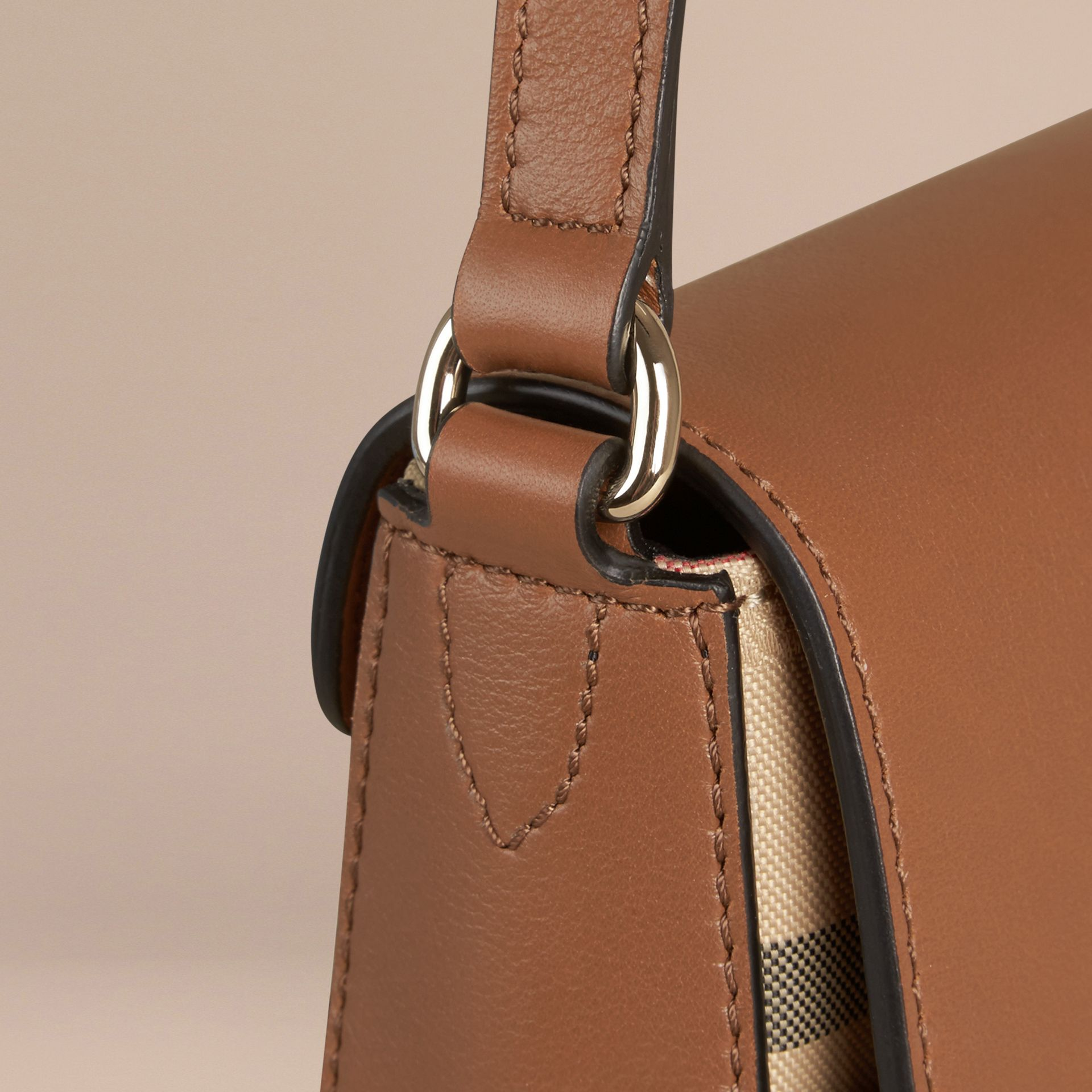 Honey/tan Small Horseferry Check and Leather Crossbody Bag Honey/tan - gallery image 5