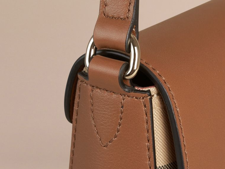 Honey/tan Small Horseferry Check and Leather Crossbody Bag Honey/tan - cell image 4