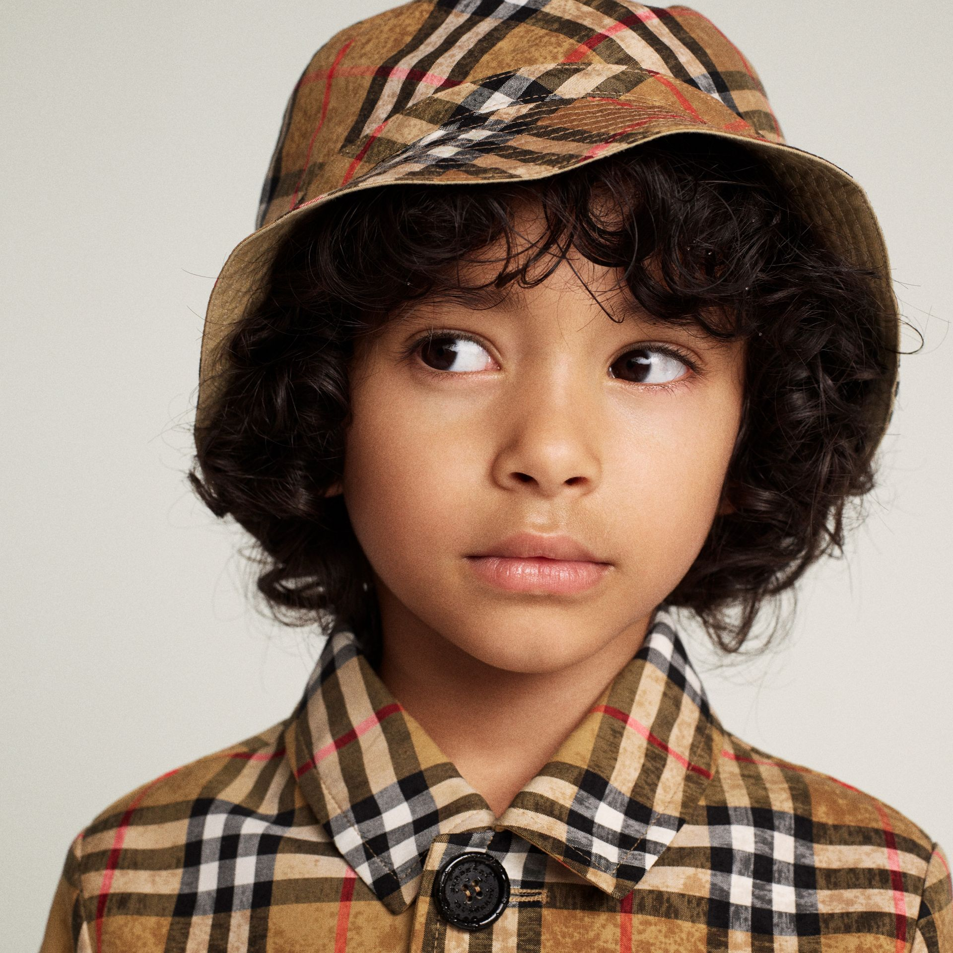 Vintage Check Cotton Bucket Hat in Antique Yellow | Burberry - gallery image 3