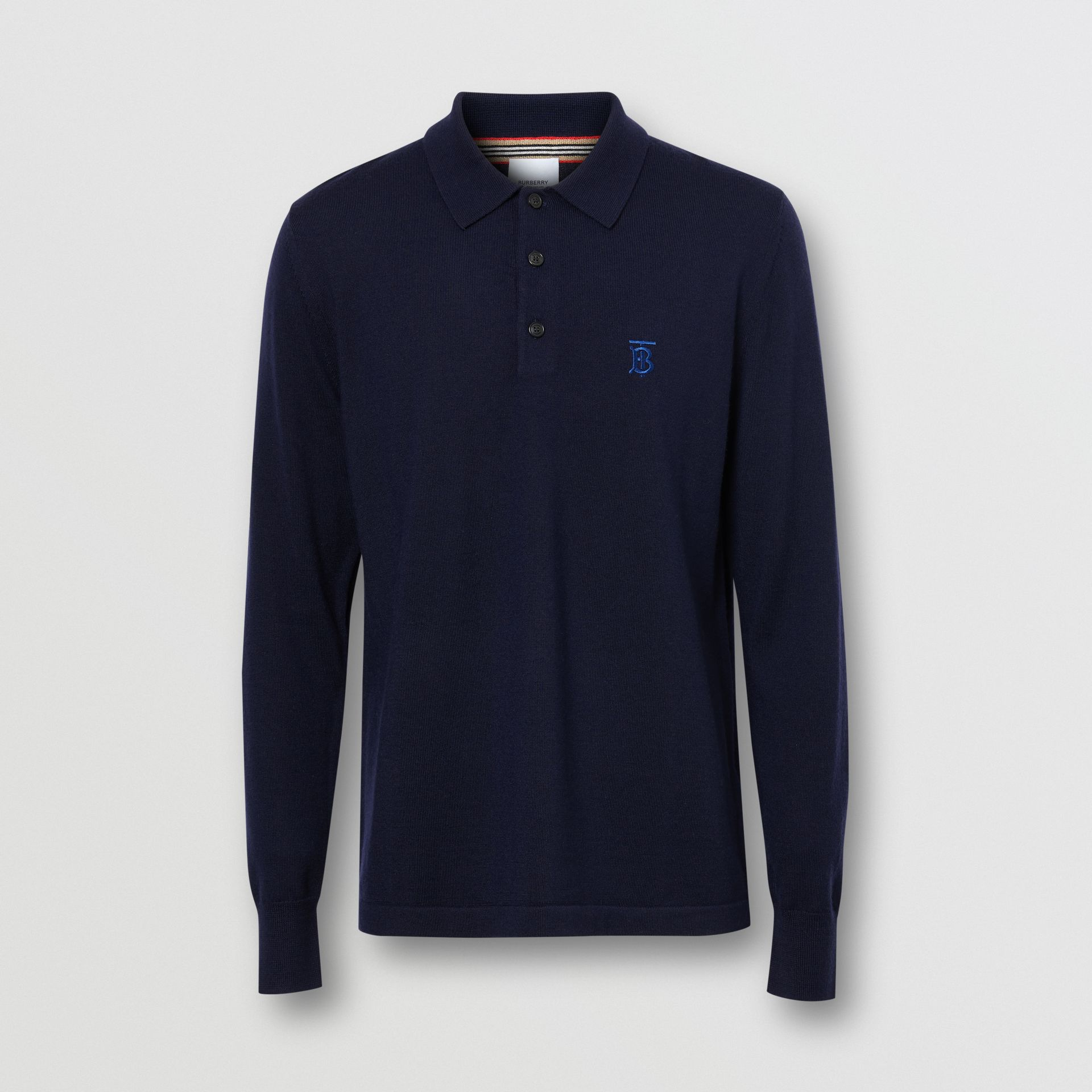 Long-sleeve Monogram Motif Merino Wool Polo Shirt in Navy - Men | Burberry - gallery image 3