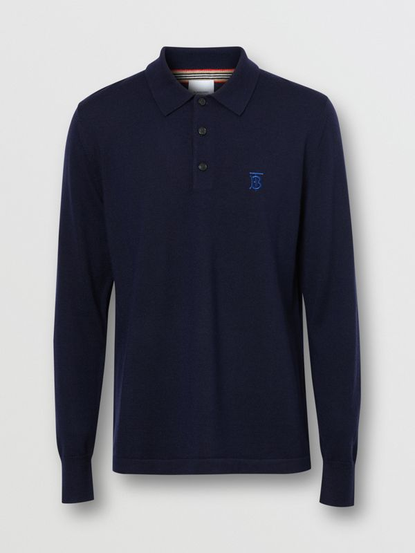 Long-sleeve Monogram Motif Merino Wool Polo Shirt in Navy - Men | Burberry - cell image 3