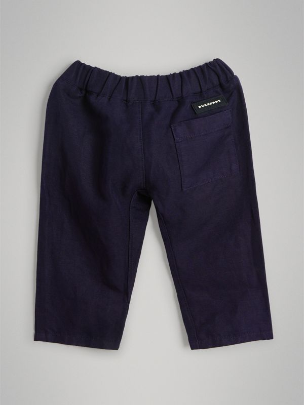 Cotton Linen Drawcord Trousers in Navy - Children | Burberry - cell image 3