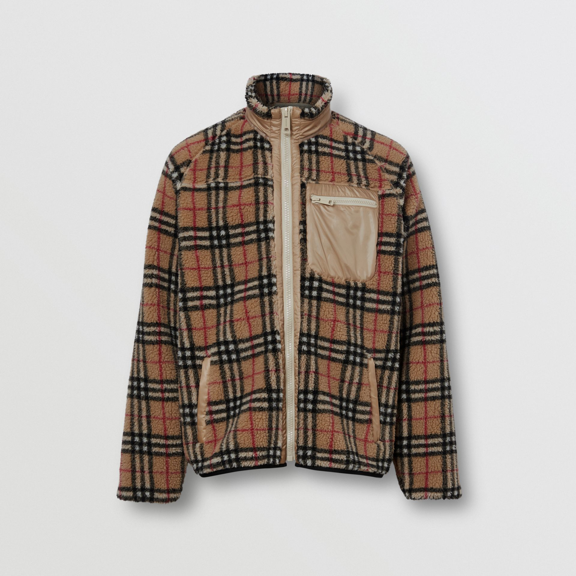 Vintage Check Fleece Jacket in Archive Beige - Men | Burberry - gallery image 3