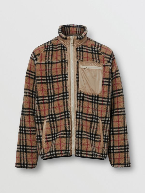 Vintage Check Fleece Jacket in Archive Beige - Men | Burberry - cell image 3