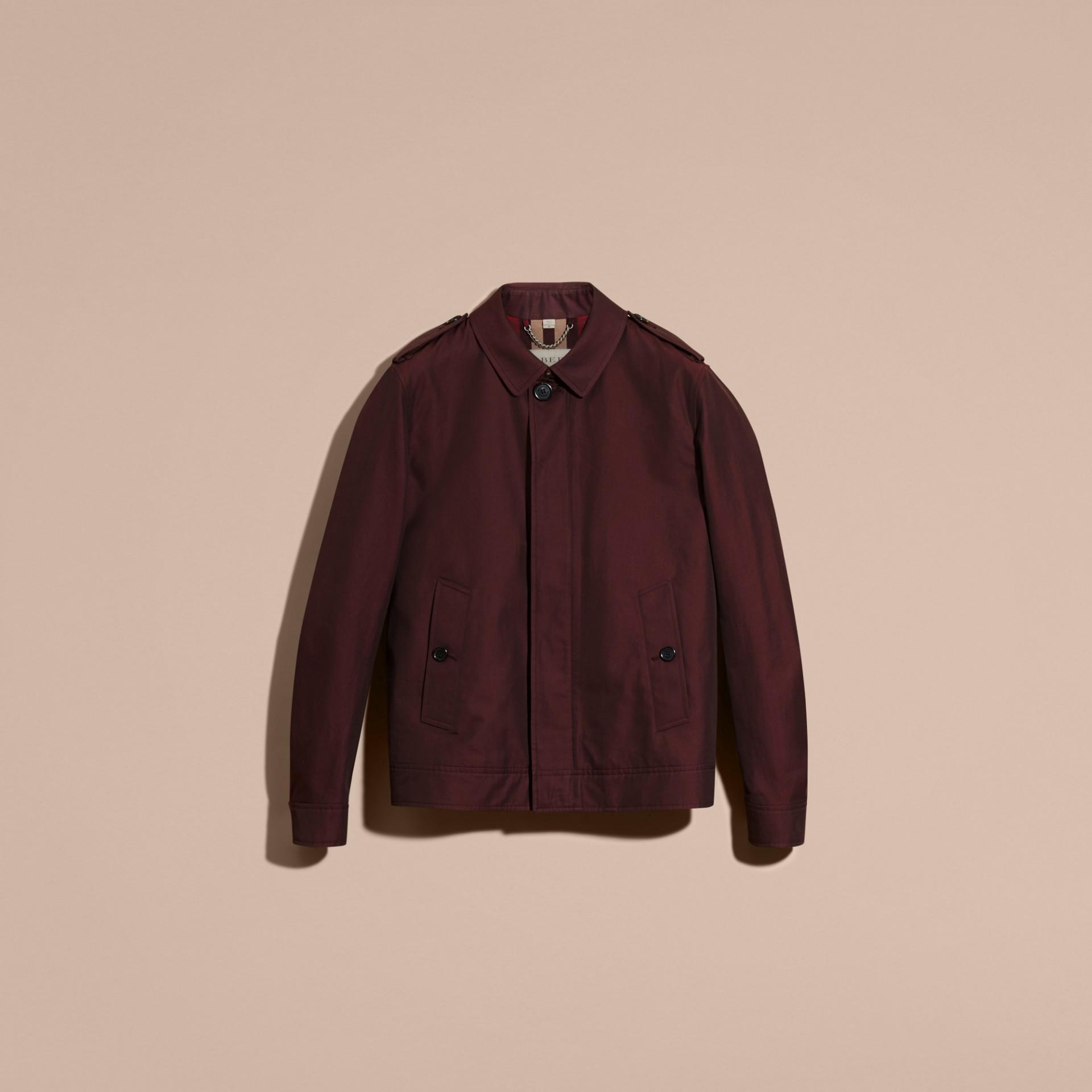 Rosso mogano Giacca in gabardine di cotone Rosso Mogano - immagine della galleria 4