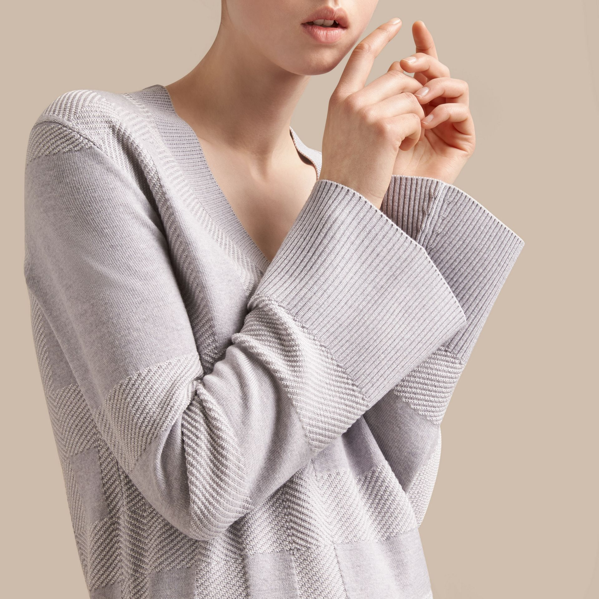 Check Merino Wool Silk Cotton V-neck Sweater in Pale Grey Melange - Women | Burberry - gallery image 5