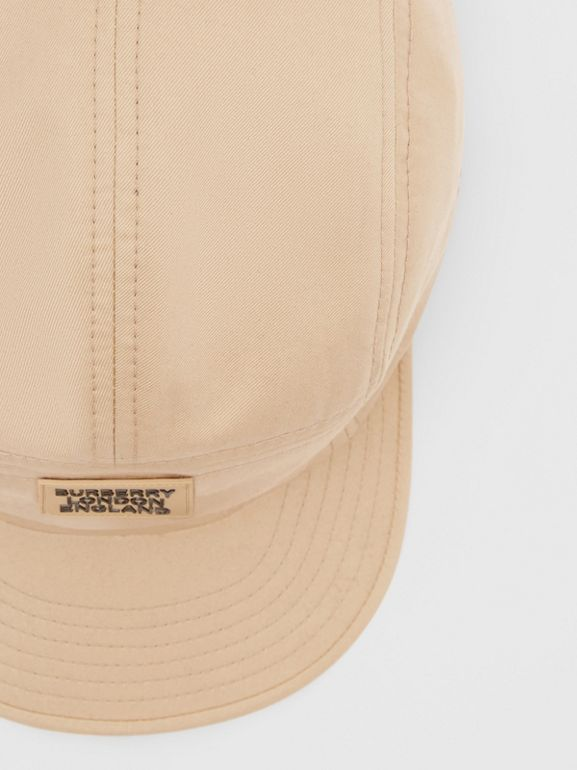 Logo Appliqué Cotton Twill Cap in Soft Fawn | Burberry - cell image 1