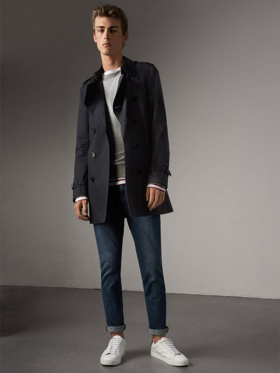 The Kensington – Mid-length Heritage Trench Coat in Navy