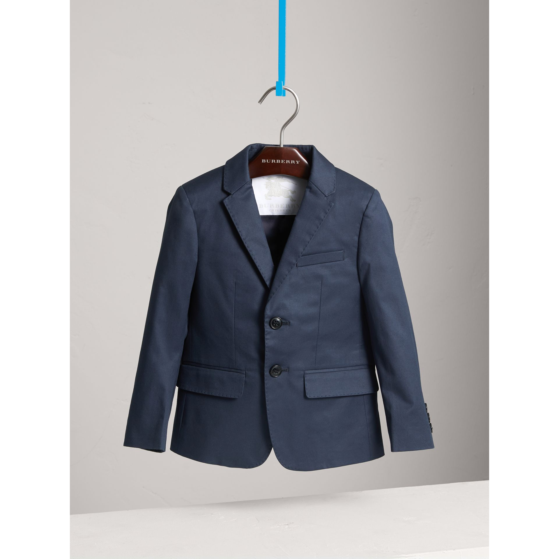 Tailored Stretch Cotton Blazer in Navy - Boy | Burberry - gallery image 2
