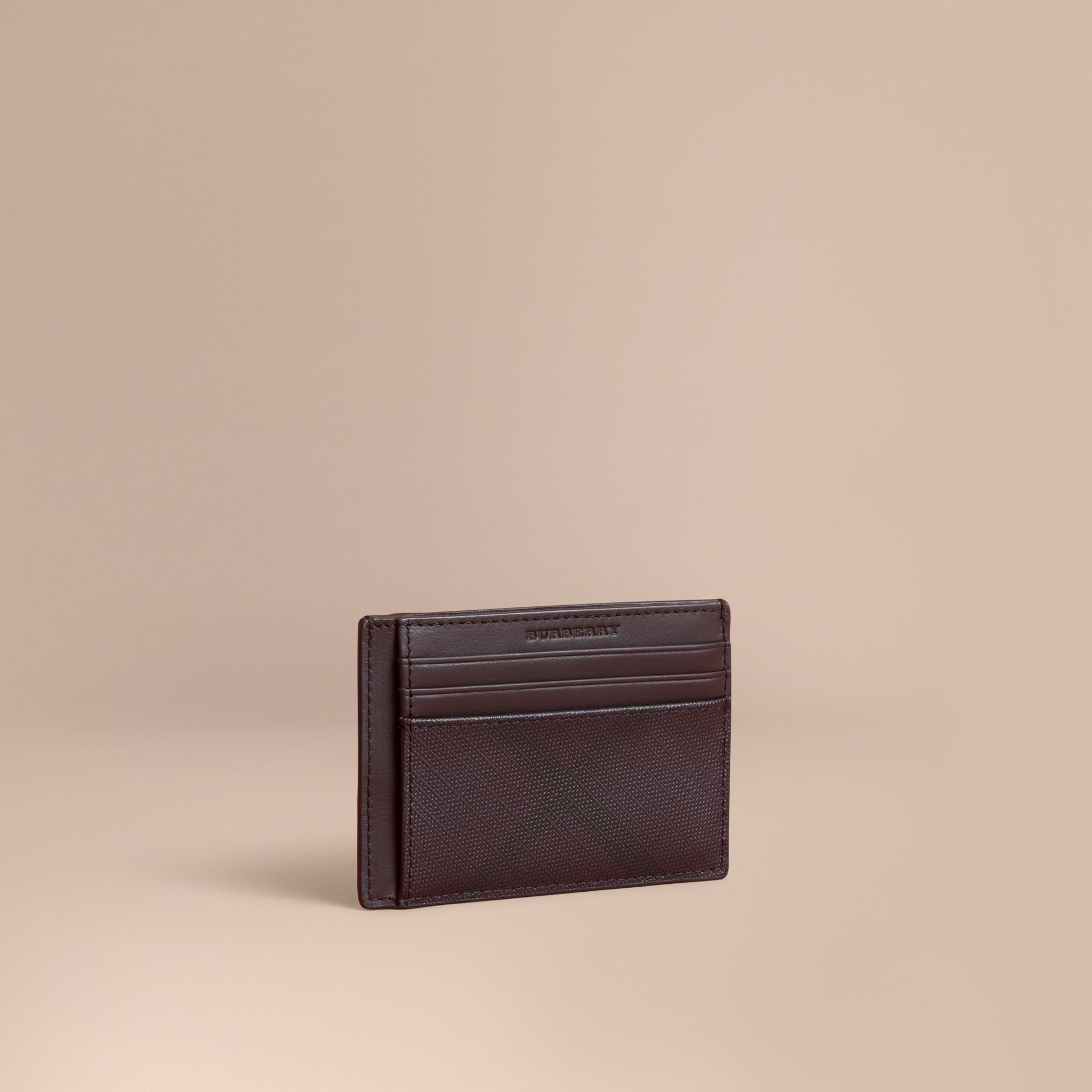 London Check Money Clip Card Case Deep Claret - gallery image 1