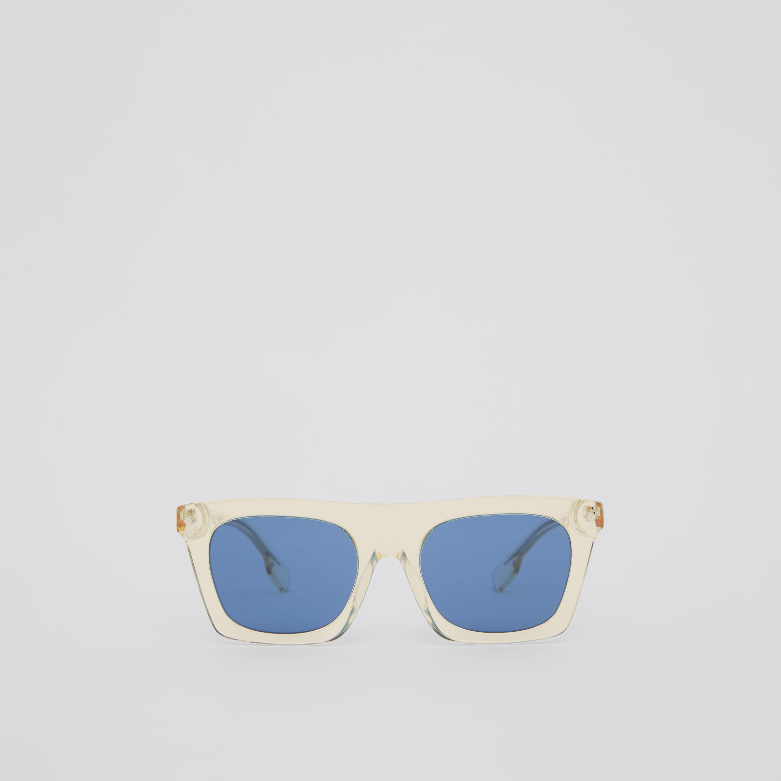 Icon Stripe Detail Rectangular Frame Sunglasses in Pale Yellow - Men | Burberry Singapore - 1