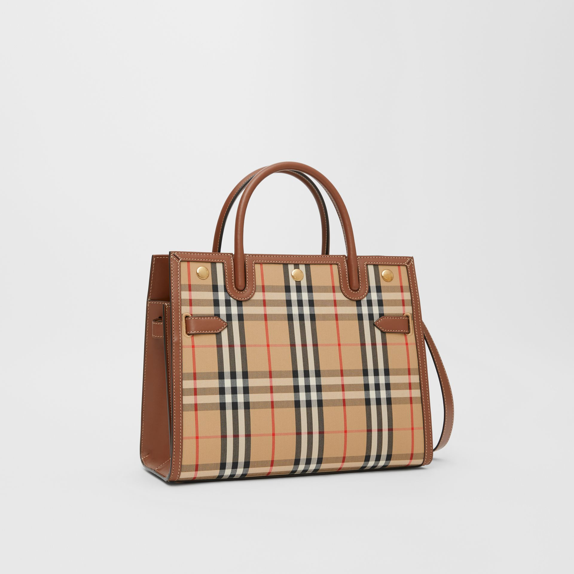 Small Vintage Check Two-handle Title Bag in Archive Beige - Women | Burberry - gallery image 6