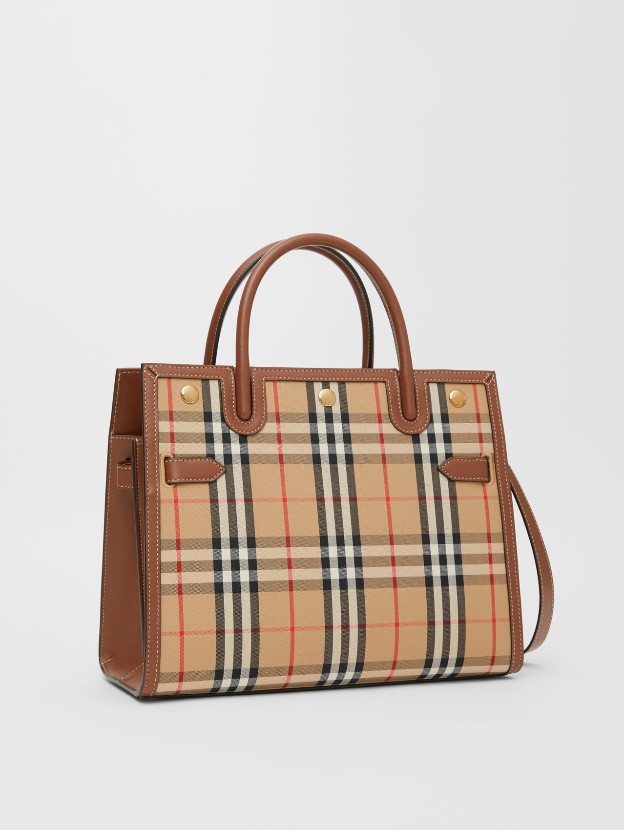 Small Vintage Check Two-handle Title Bag in Archive Beige