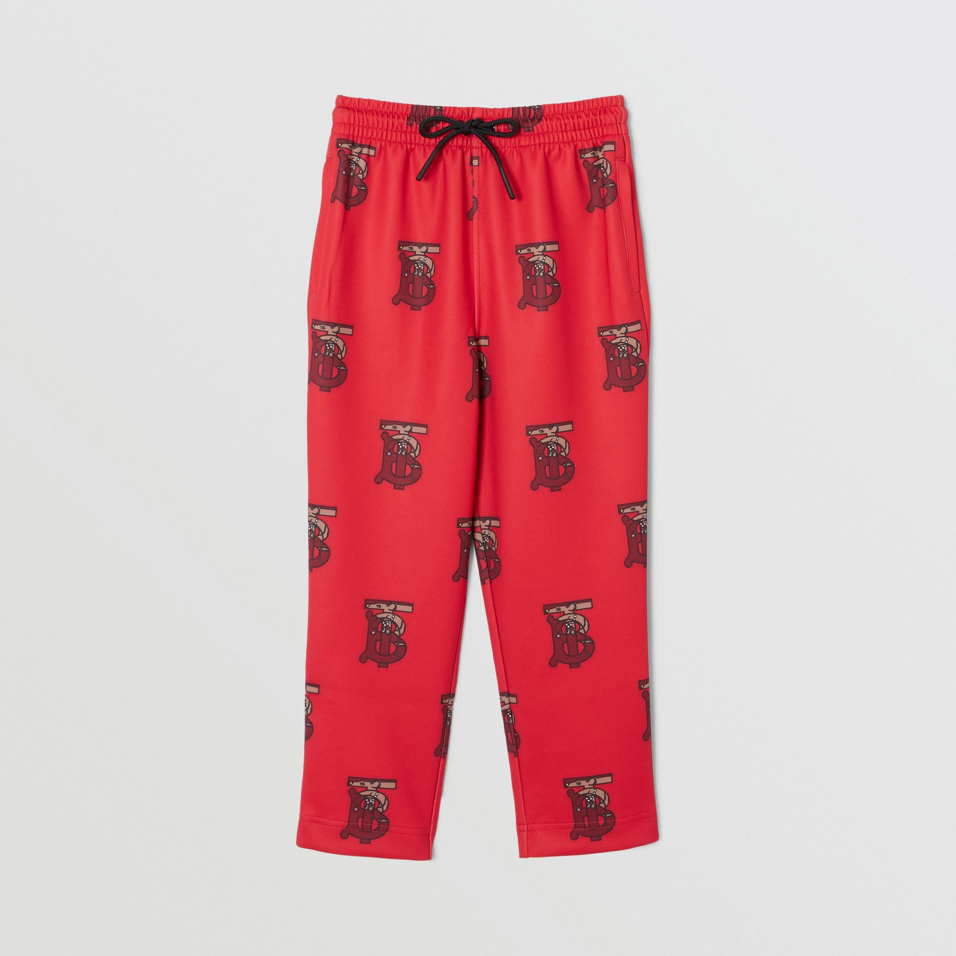 Monogram Motif Neoprene Trackpants in Bright Red | Burberry - gallery image 0