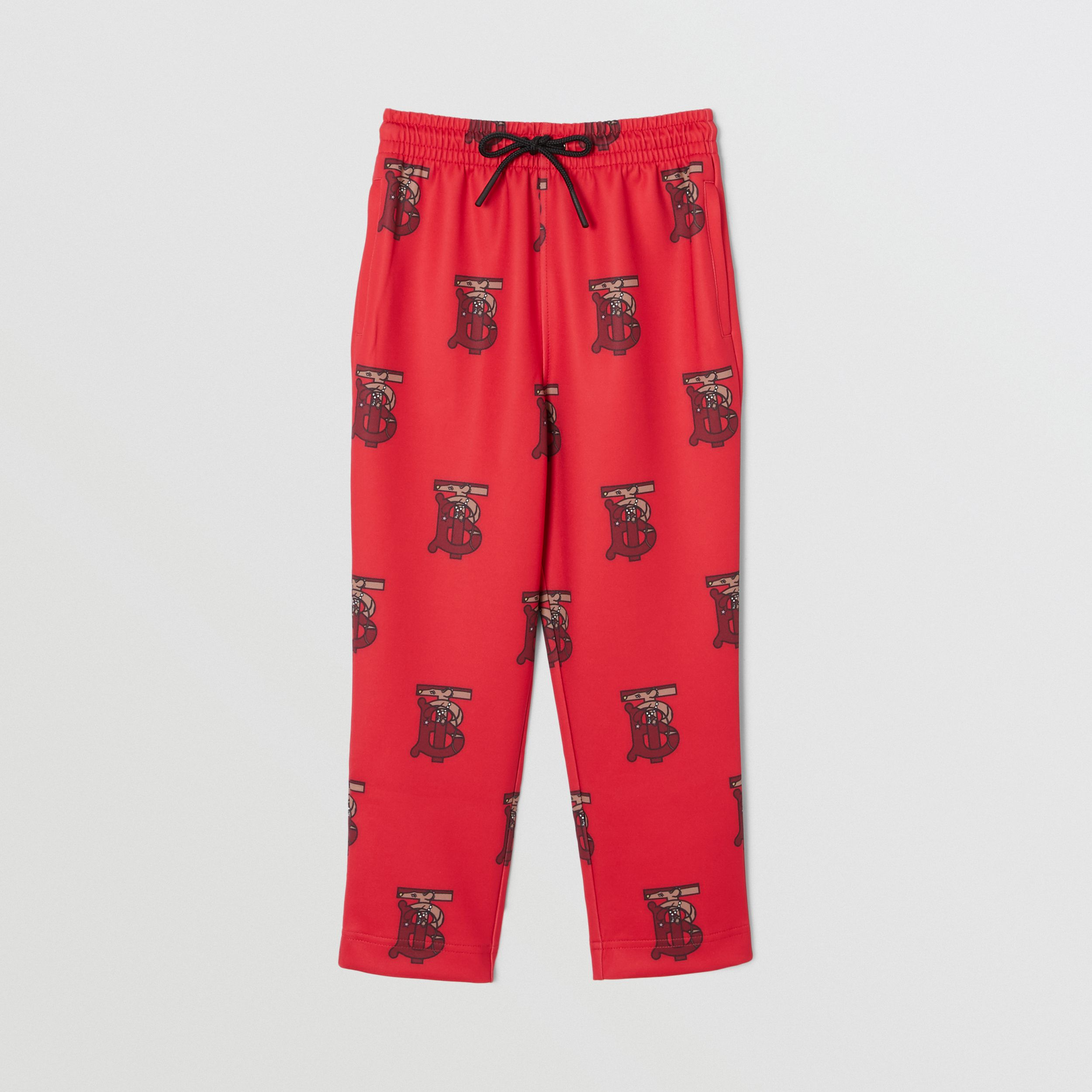 Monogram Motif Neoprene Trackpants in Bright Red | Burberry - 1