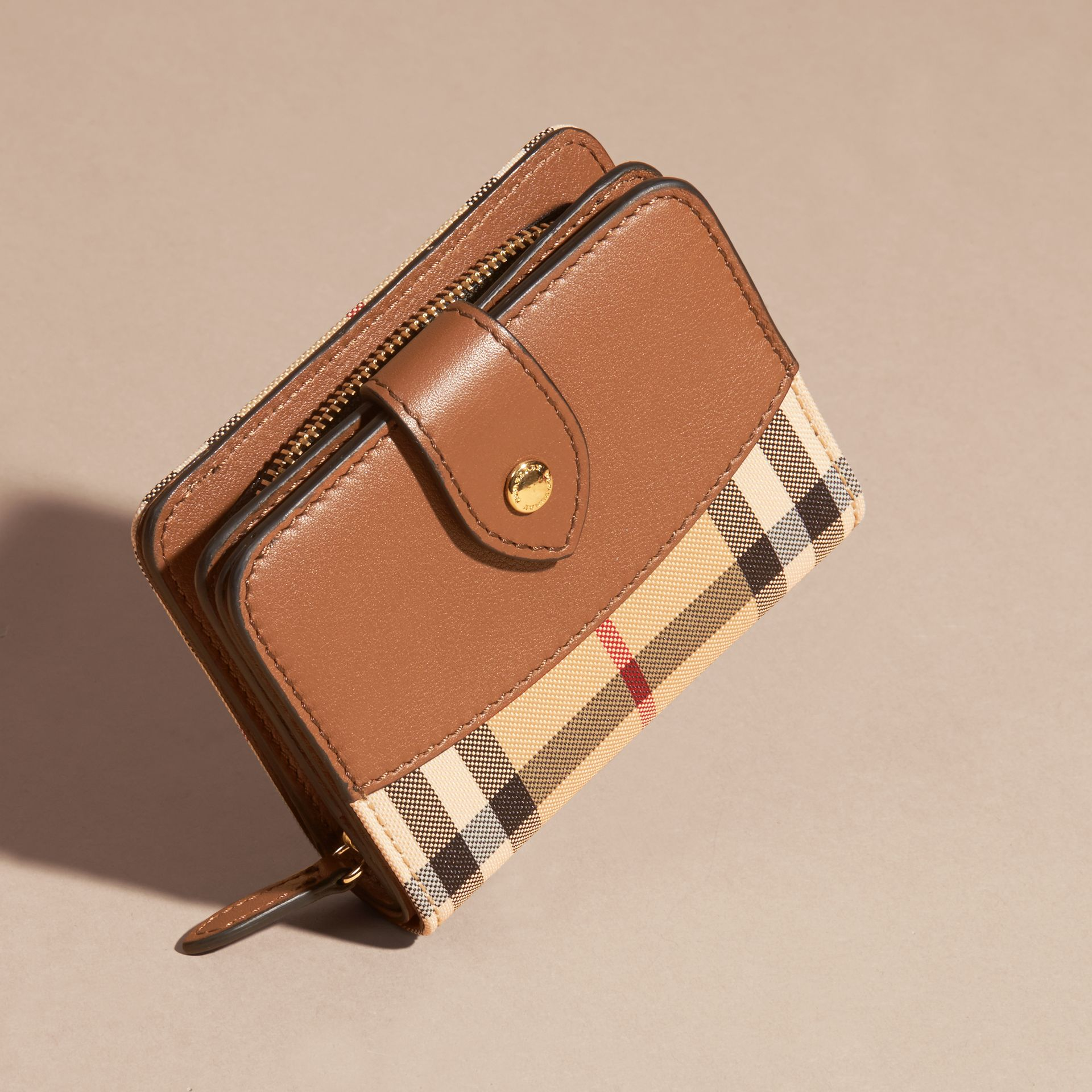 Tan Horseferry Check and Leather Wallet Tan - gallery image 3