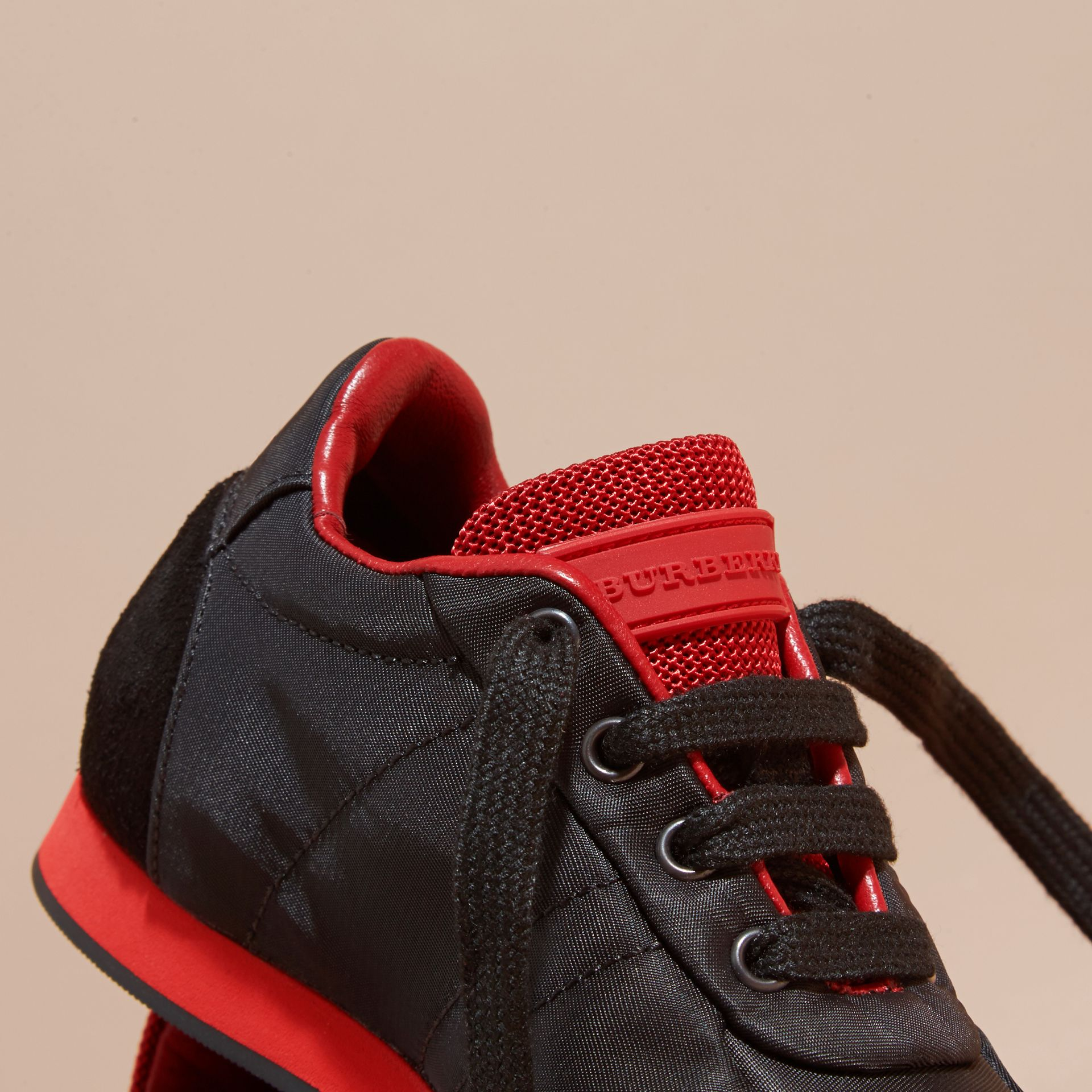 Black/military red Two-tone Satin and Leather Sneakers - gallery image 2