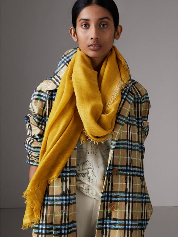Embroidered Cashmere Cotton Scarf in Bright Yellow