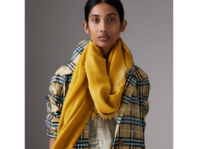 Embroidered Cashmere Cotton Scarf in Bright Yellow | Burberry Hong Kong - cell image 4