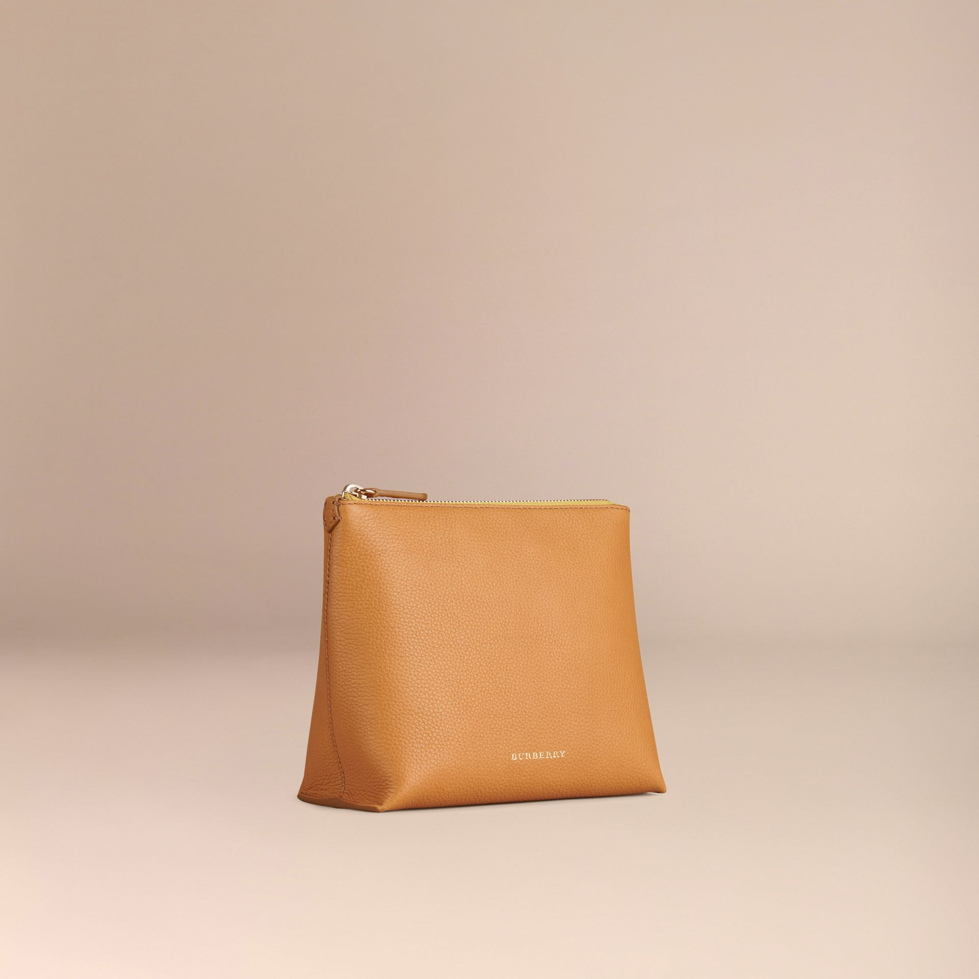 Ochre yellow Grainy Leather Zipped  Pouch Ochre Yellow - gallery image 3