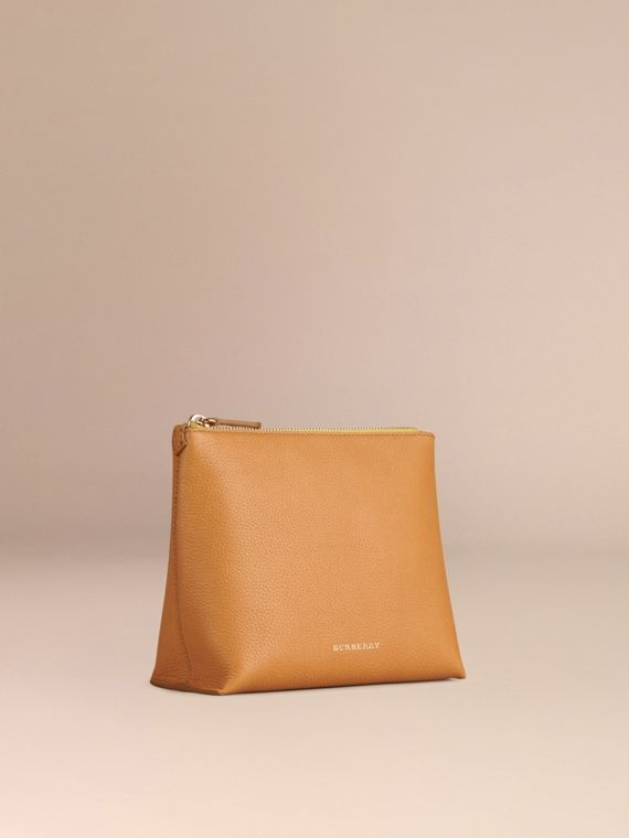 Ochre yellow Grainy Leather Zipped  Pouch Ochre Yellow - cell image 2
