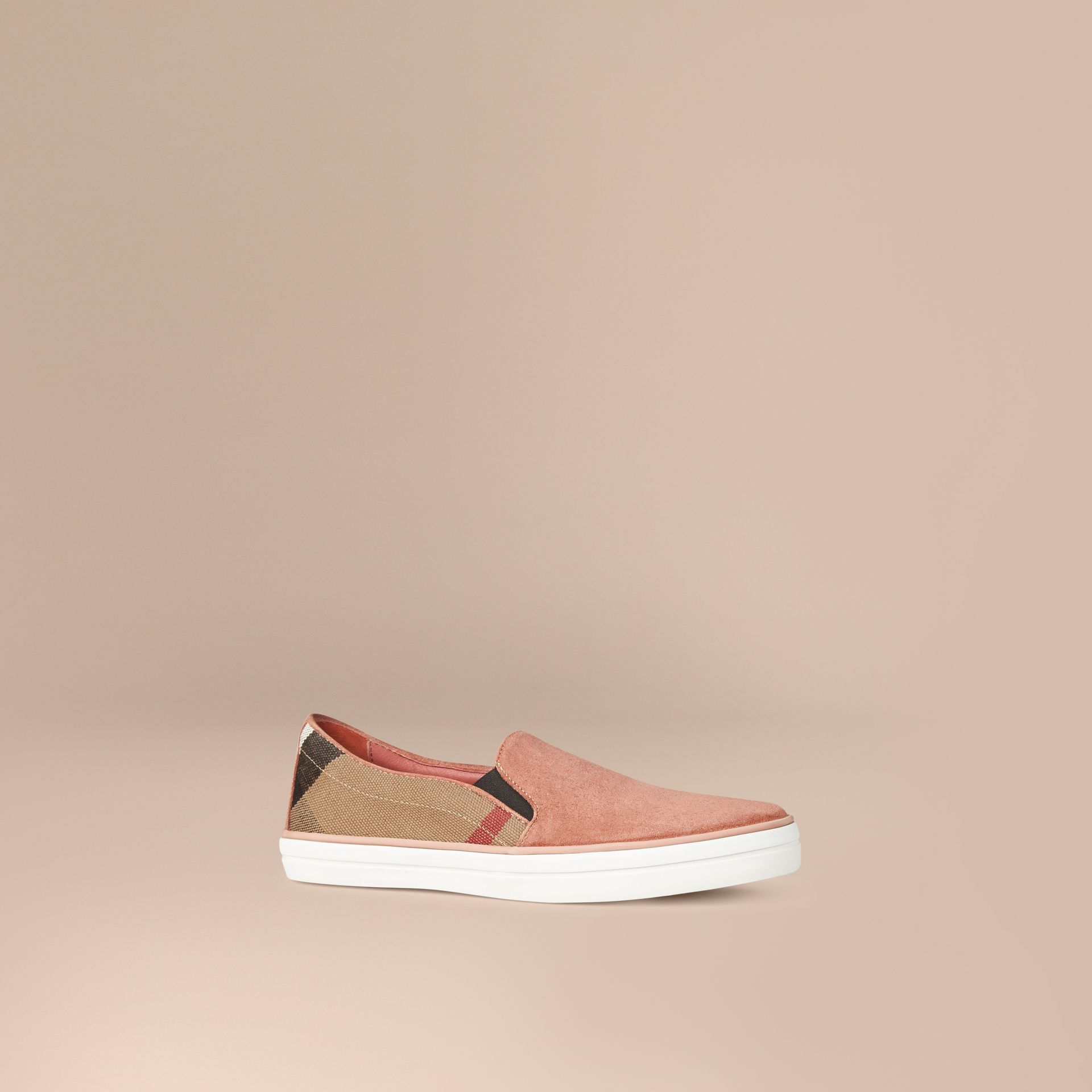 Pale russet Canvas Check and Suede Slip-on Trainers Pale Russet - gallery image 1
