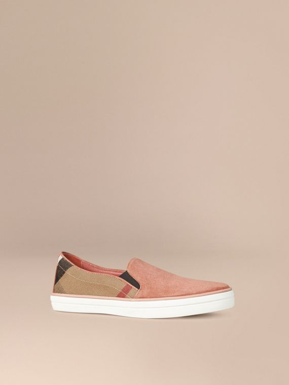 Canvas Check and Suede Slip-on Trainers Pale Russet