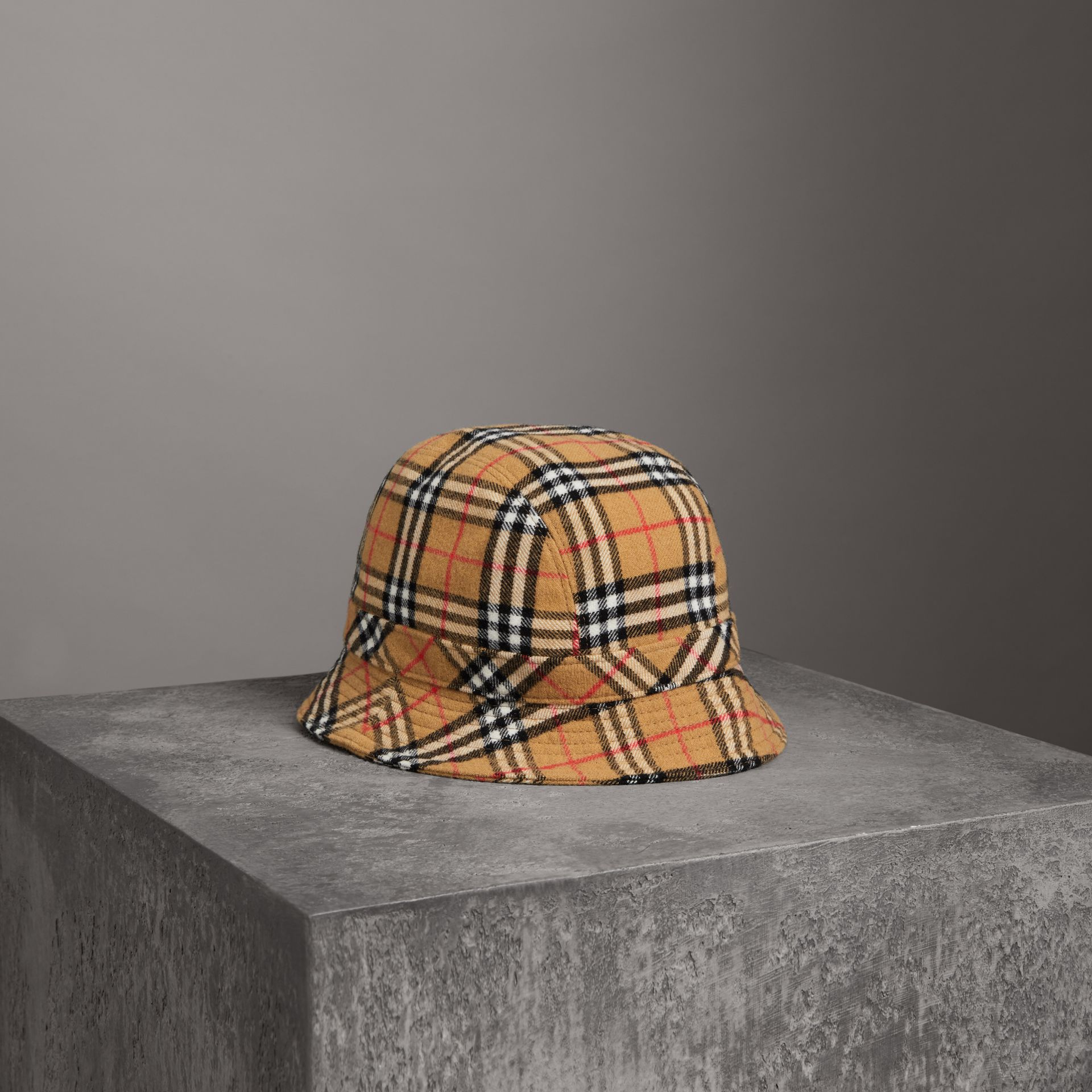 Gosha x Burberry Check Flannel Bucket Hat in Antique Yellow | Burberry - gallery image 0