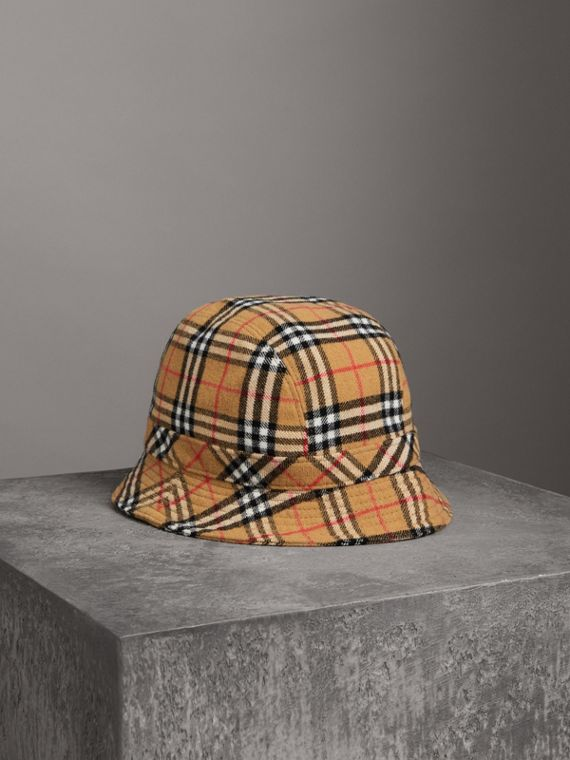 Gosha x Burberry Check Flannel Bucket Hat in Antique Yellow