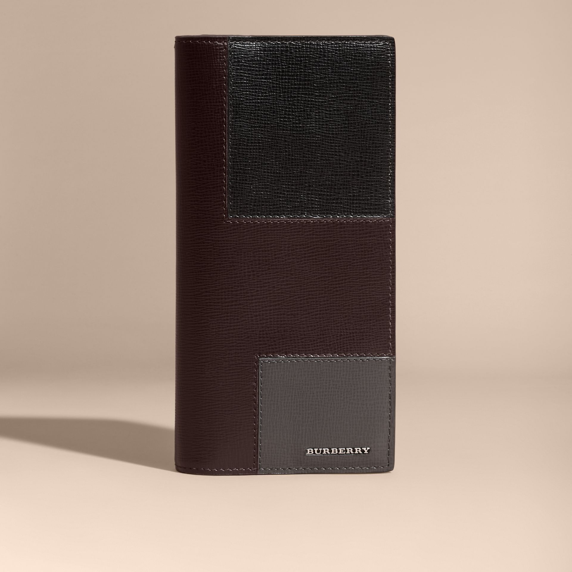 Vino Portafoglio continental in patchwork di pelle London Vino - immagine della galleria 6