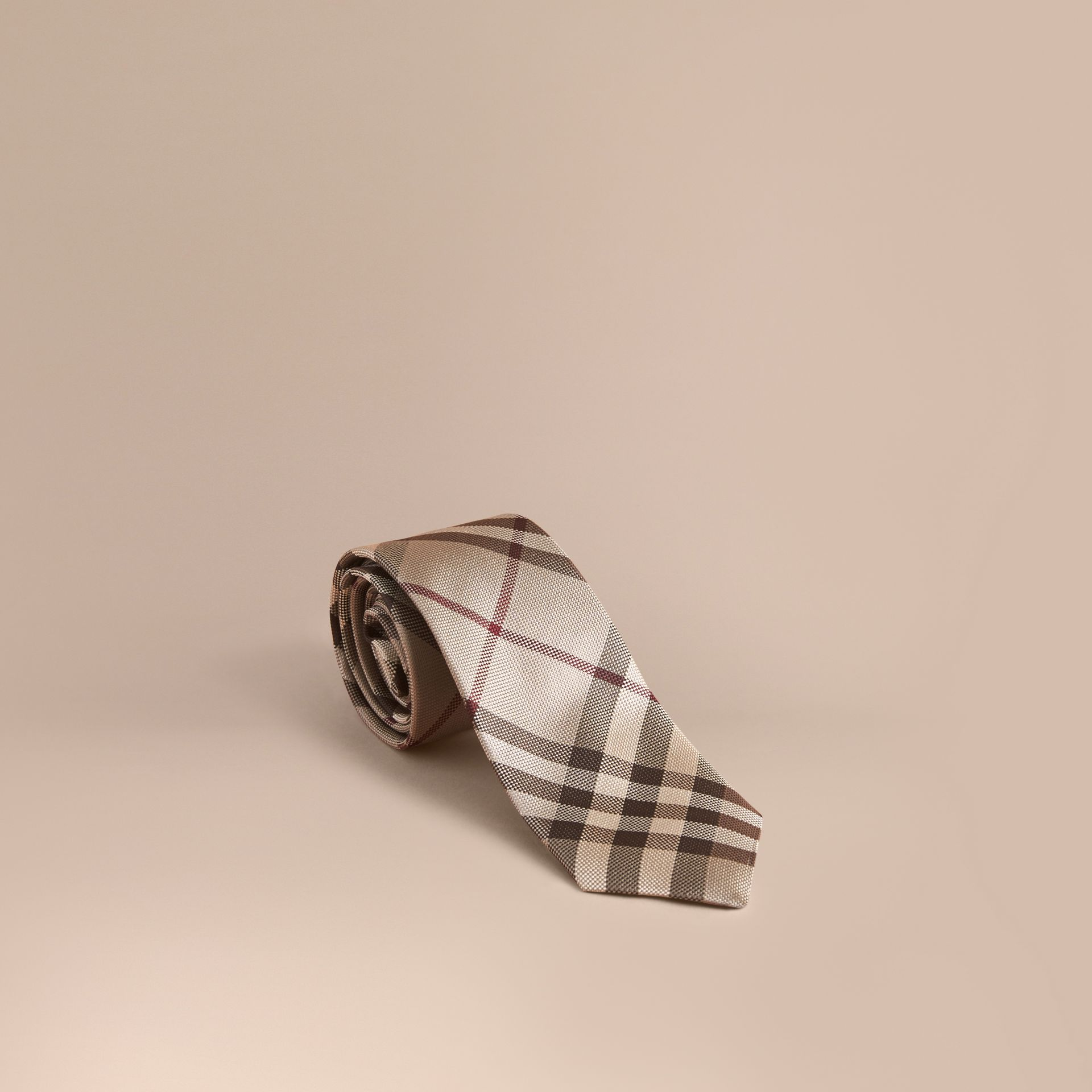 Smoked trench Modern Cut Check Silk Tie - gallery image 1