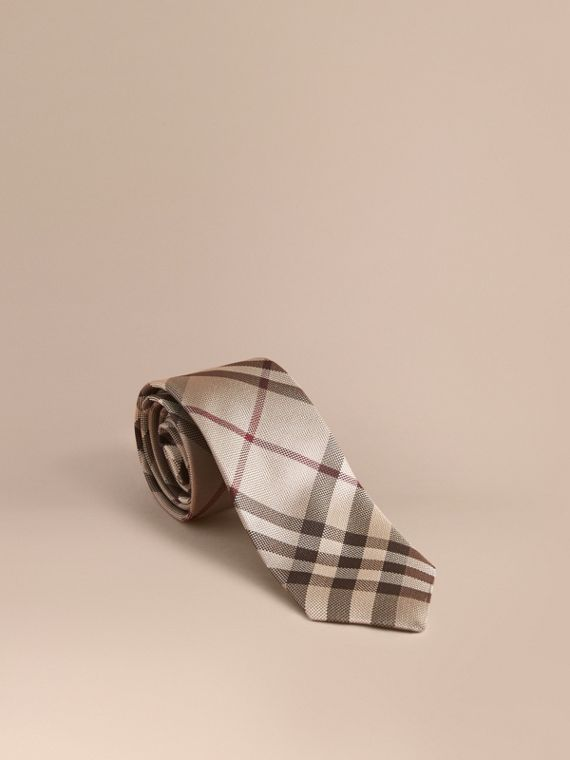 Modern Cut Check Silk Tie in Smoked Trench