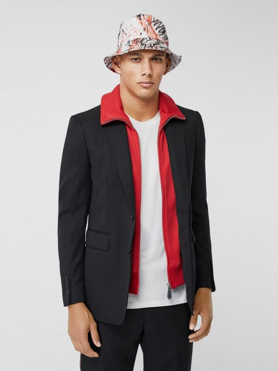 Classic Fit Track Top Detail Wool Tailored Jacket in Black