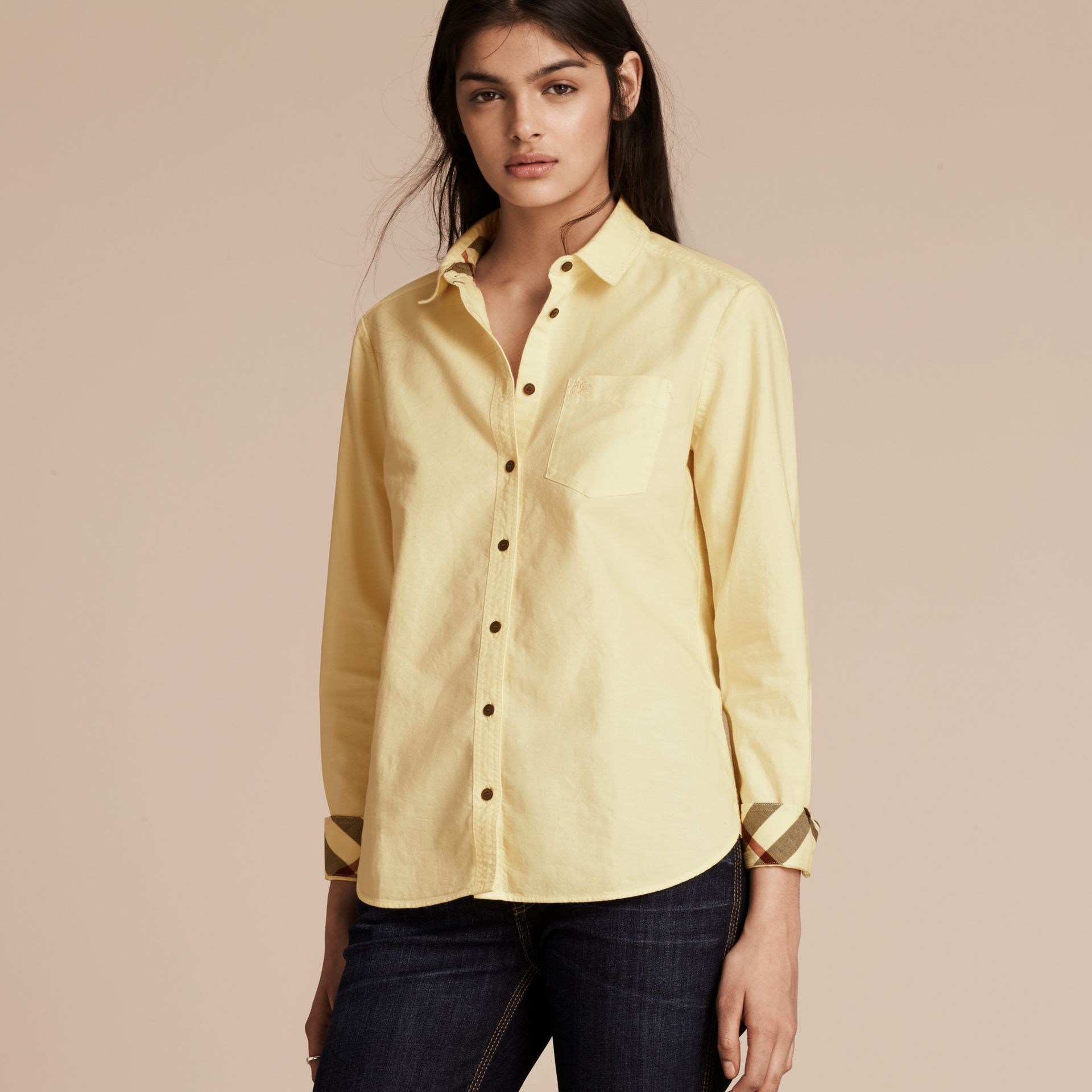 Pale yellow Check Detail Cotton Shirt Pale Yellow - gallery image 5