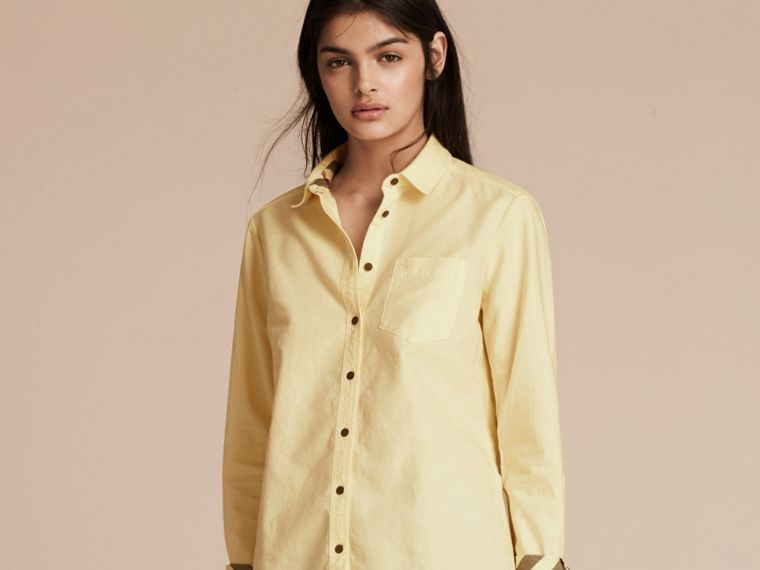 Pale yellow Check Detail Cotton Shirt Pale Yellow - cell image 4