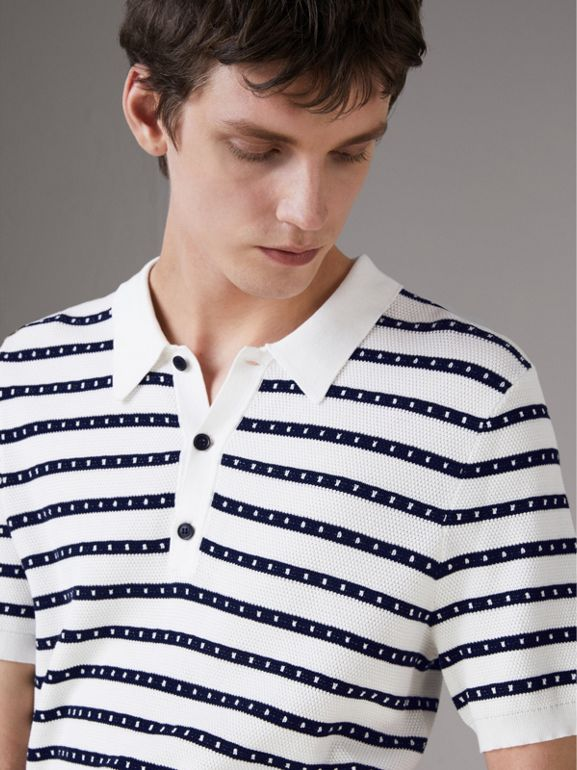 Striped Knitted Cotton Polo Shirt in Natural White - Men | Burberry - cell image 1