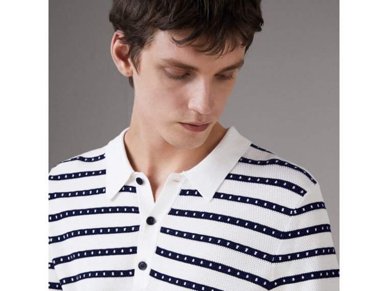 Striped Knitted Cotton Polo Shirt in Natural White - Men | Burberry United States - cell image 1