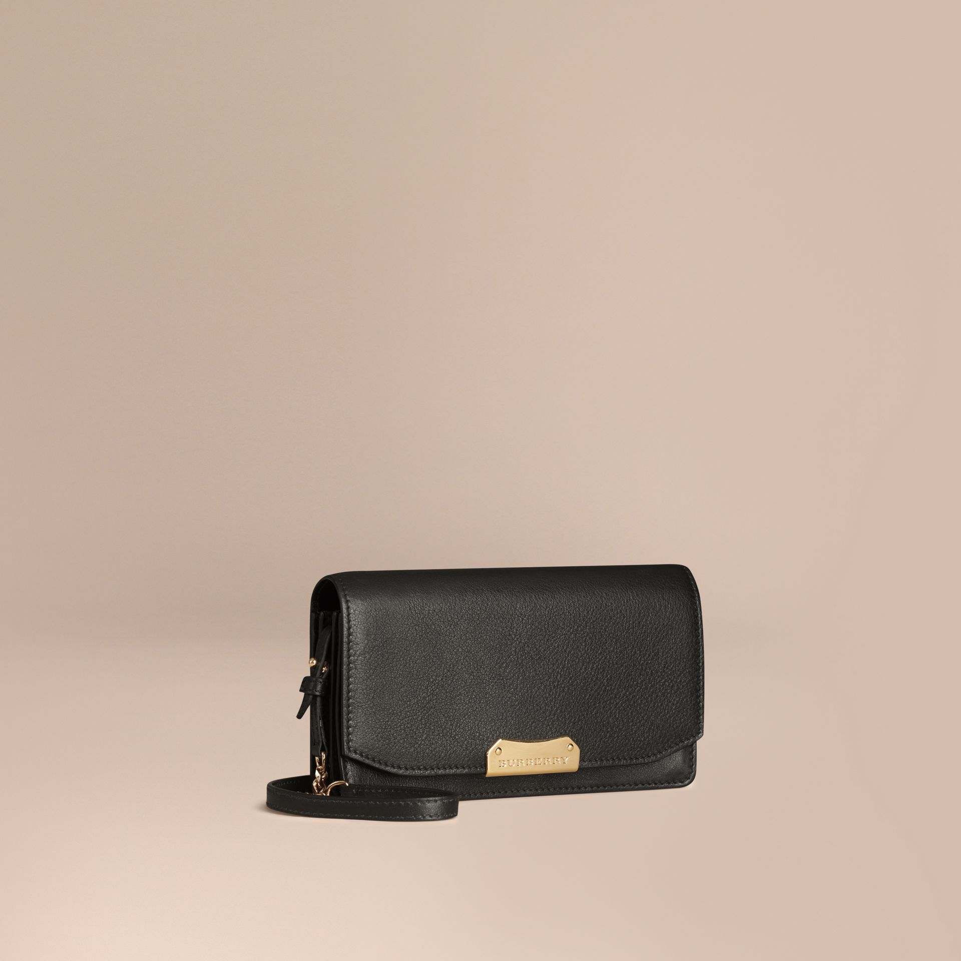 Black Leather Clutch Bag with Chain - gallery image 1