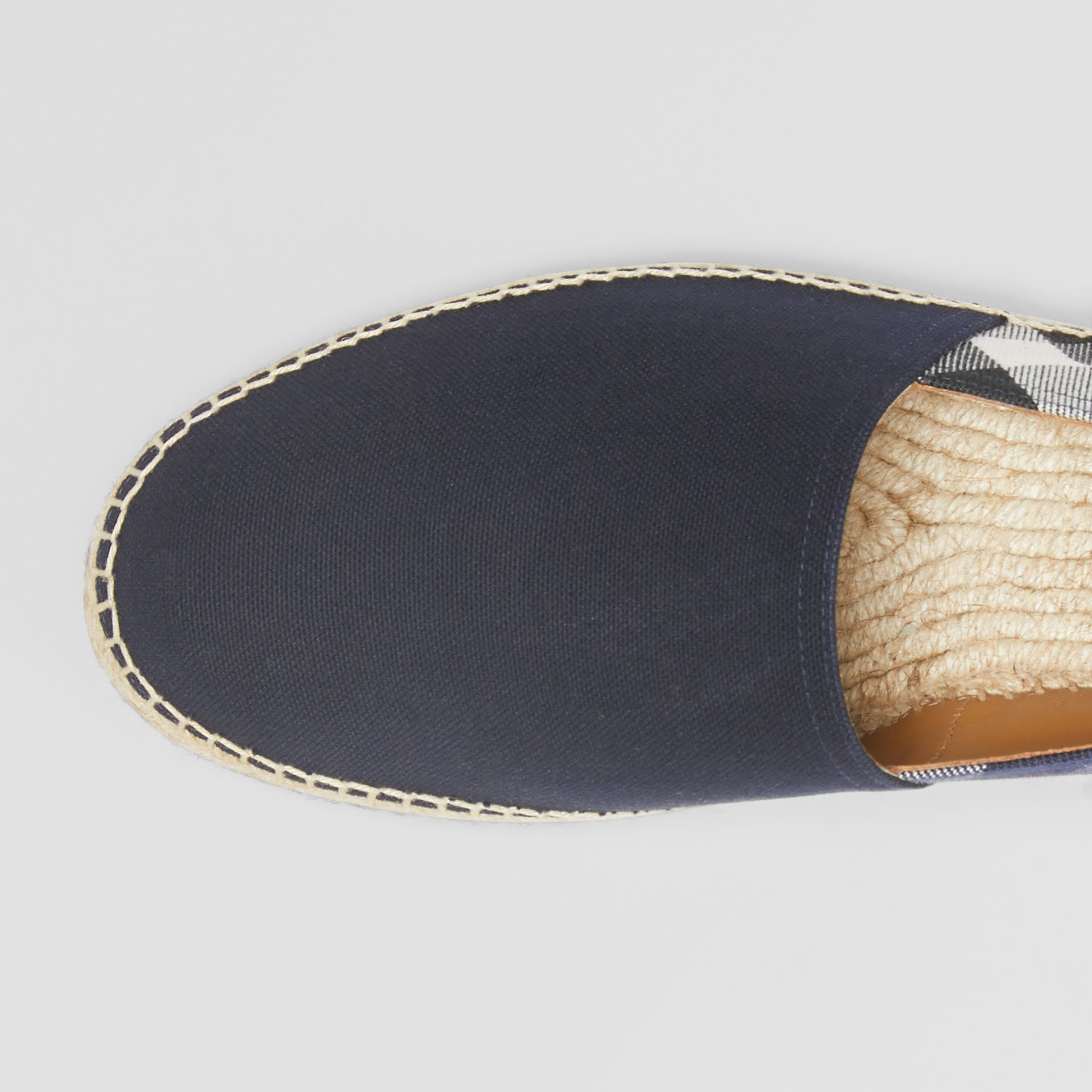 Overdyed House Check and Cotton Canvas Espadrilles in Indigo Blue - Men | Burberry Canada - gallery image 1