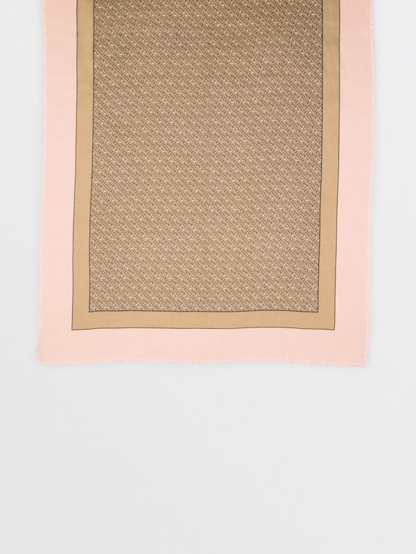 Monogram Print Lightweight Cashmere Scarf in Pink | Burberry - cell image 3