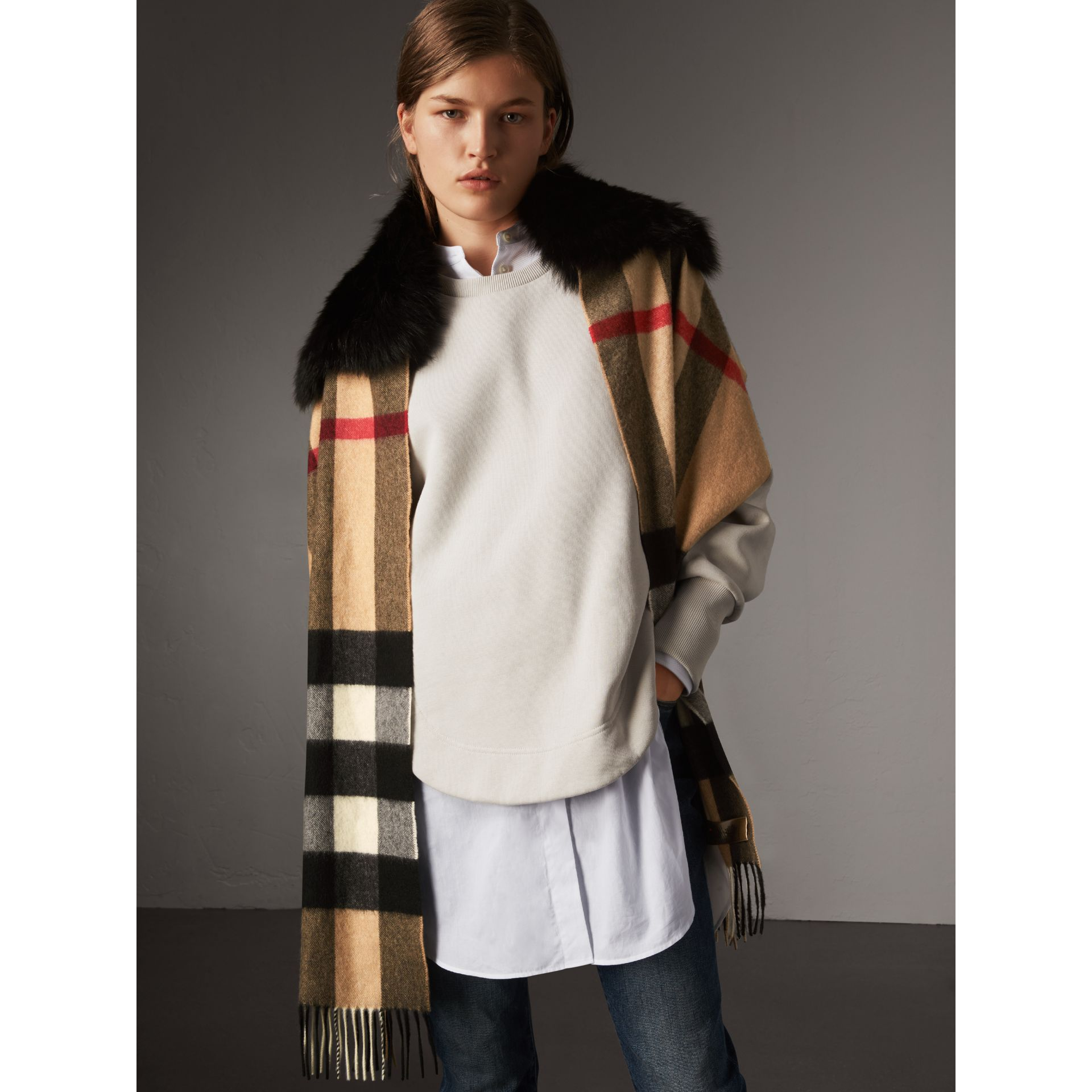 Fox Fur Trim Check Cashmere Scarf in Camel/black - Women | Burberry - gallery image 4