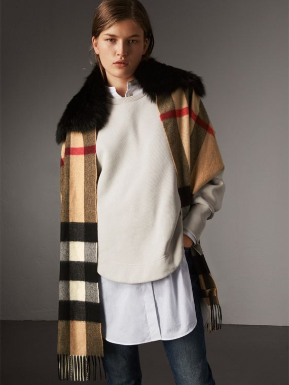 Fox Fur Trim Check Cashmere Scarf in Camel/black - Women | Burberry - cell image 3
