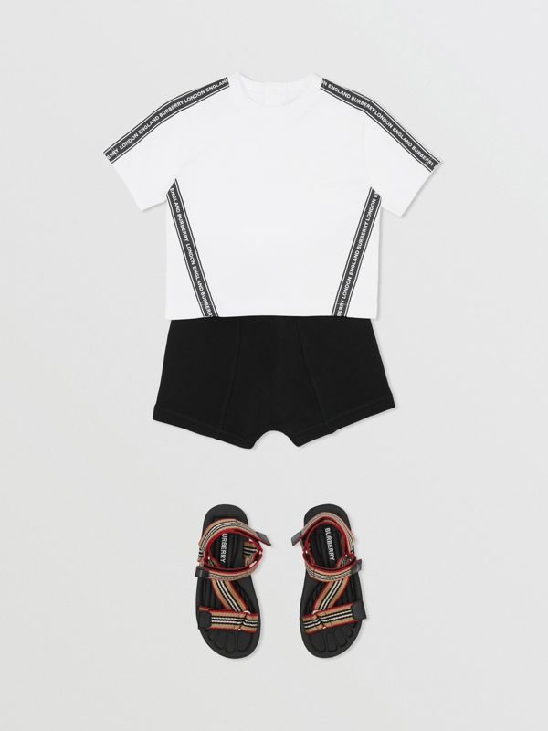 Logo Tape Cotton T-shirt in White - Children | Burberry - cell image 3