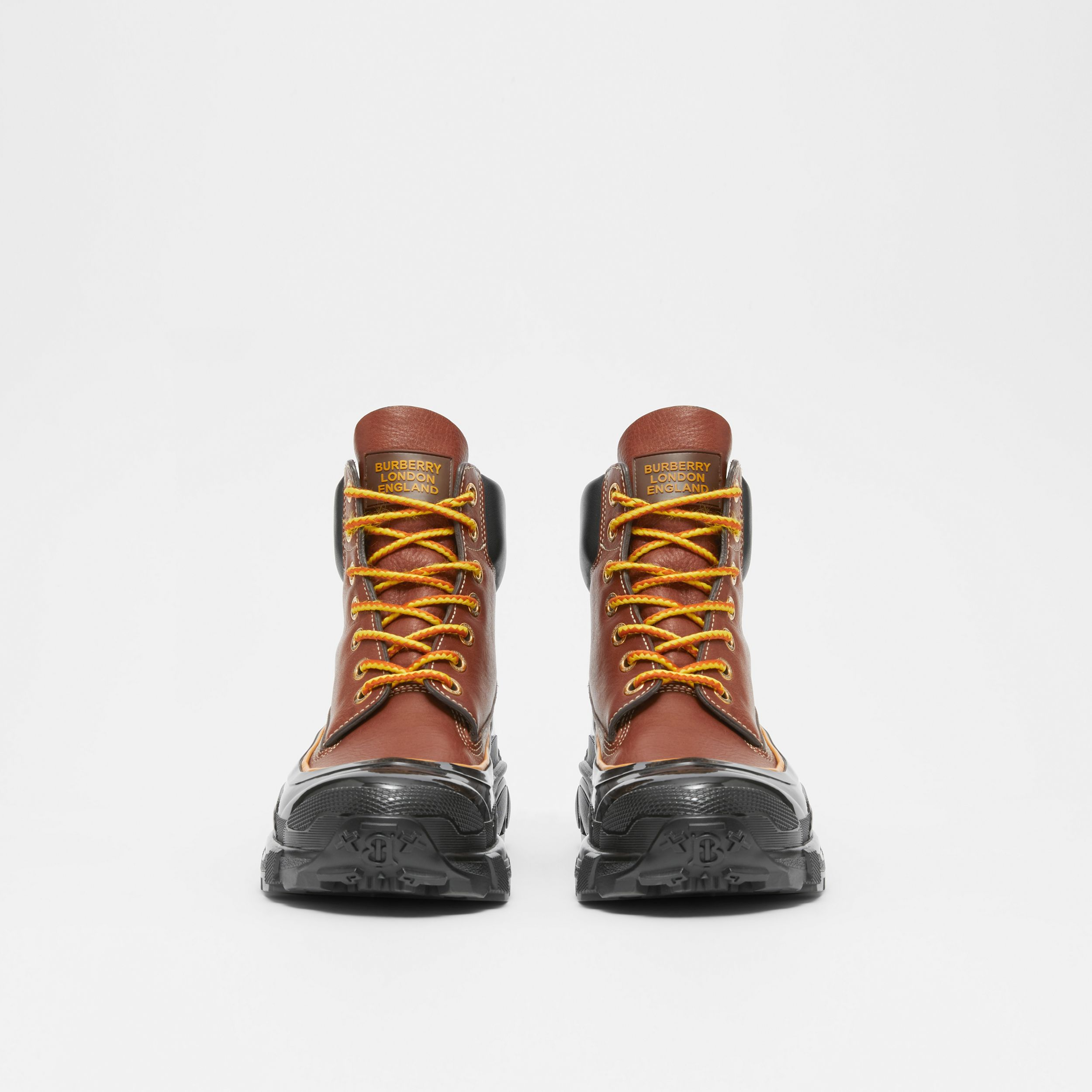 Contrast Sole Leather Boots in Tan - Men | Burberry - 4