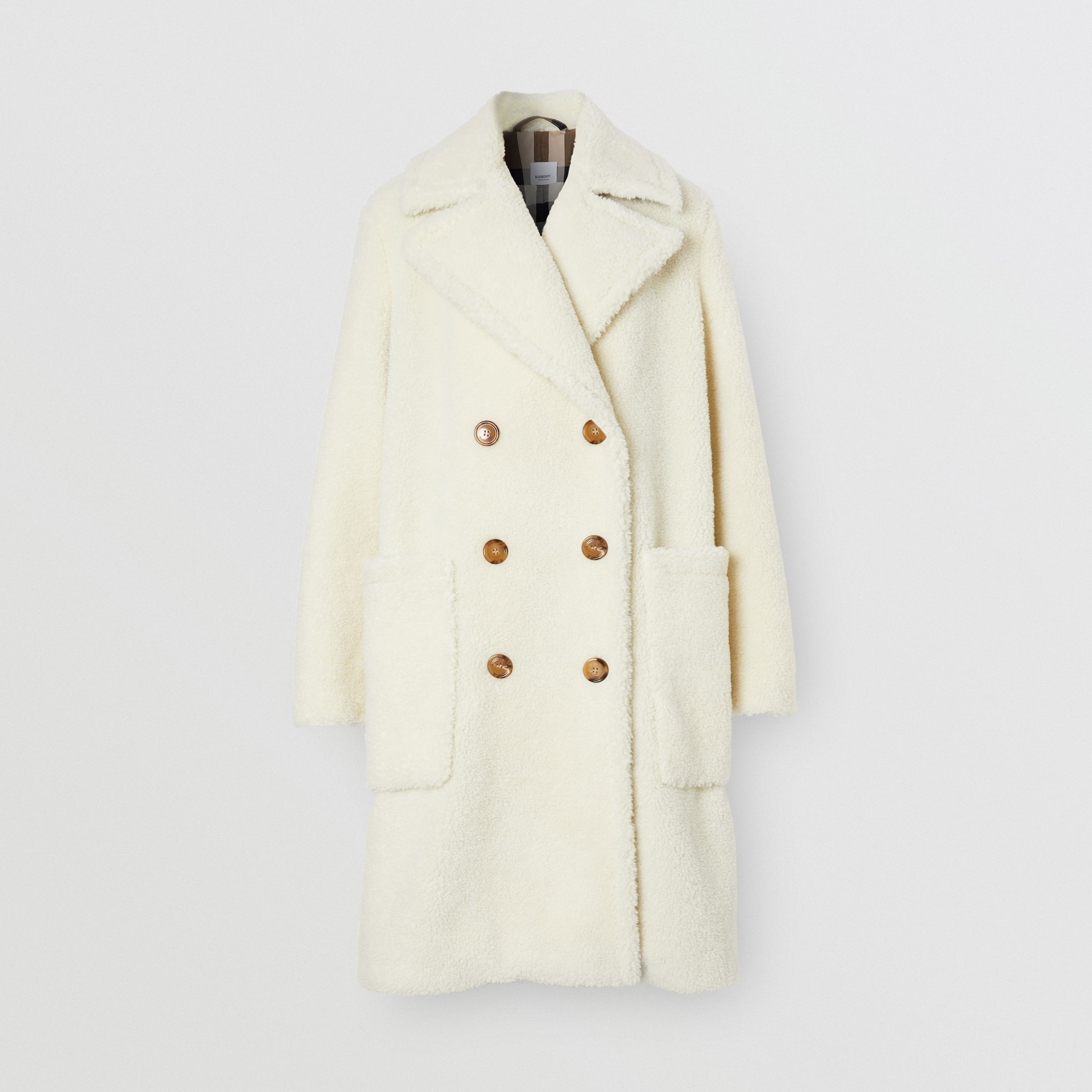 Technical Wool Fleece Double-breasted Coat in Ivory - Women | Burberry United States - 4