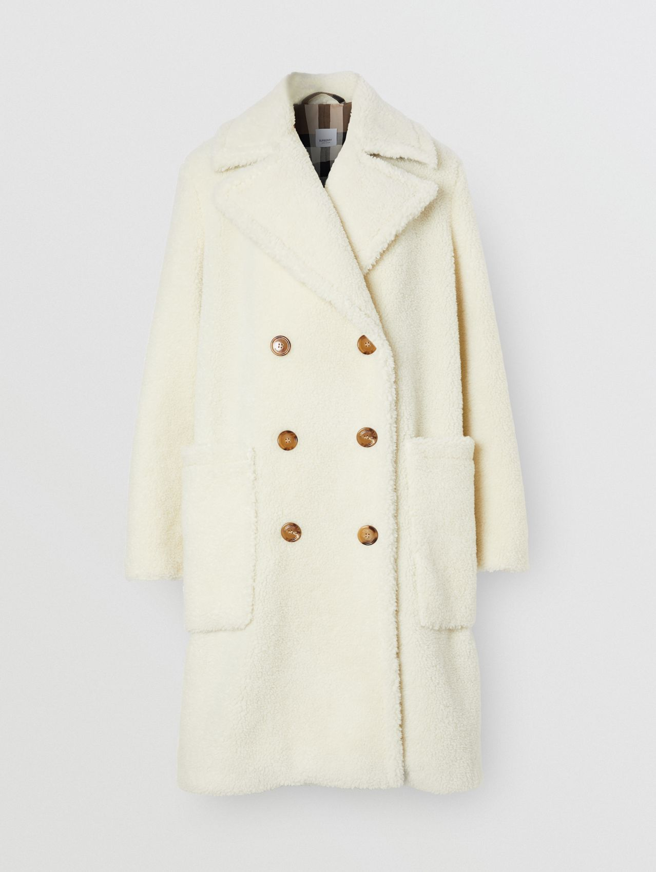 Technical Wool Fleece Double-breasted Coat in Ivory