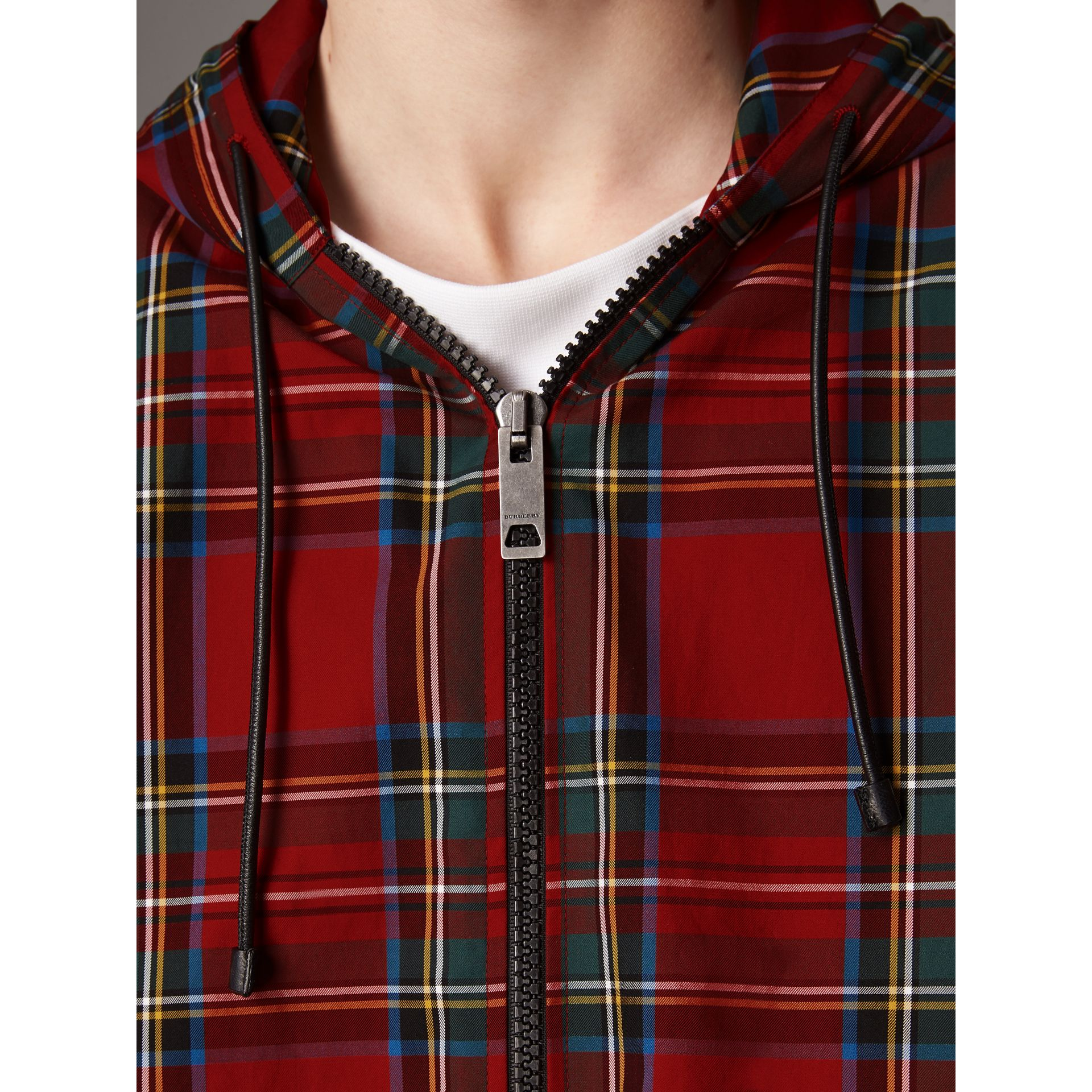Tartan Cotton Hooded Jacket in Bright Red - Men | Burberry United Kingdom - gallery image 5
